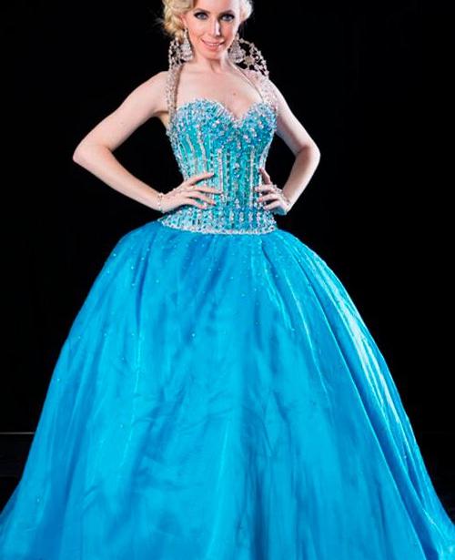 Vestido de 15 anos azul turquesa tomara que caia