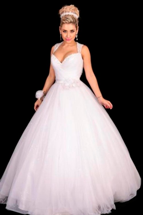 f5d8658104 Vestido de 15 anos branco manga curta decote coracao - Bella Angela