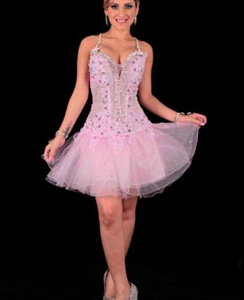 vestido de 15 anos rosa claro com alça curto