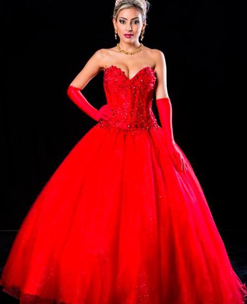 Vestido de 15 anos vermelho princesa tomara que caia