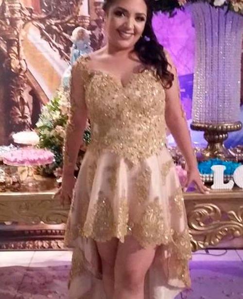 vestido de festa curto dourado com alca