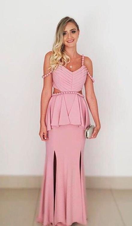 Vestido de festa rosa bebe longo