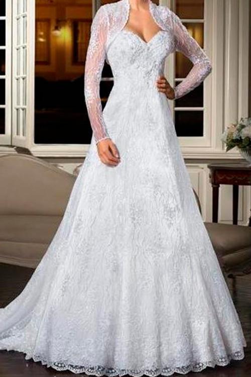 a8d8866a82fb Vestido de noiva com renda decote coração manga longa - Bella Angela