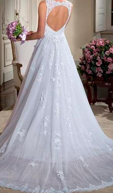 Vestido de noiva frente-decote aberto cauda longa