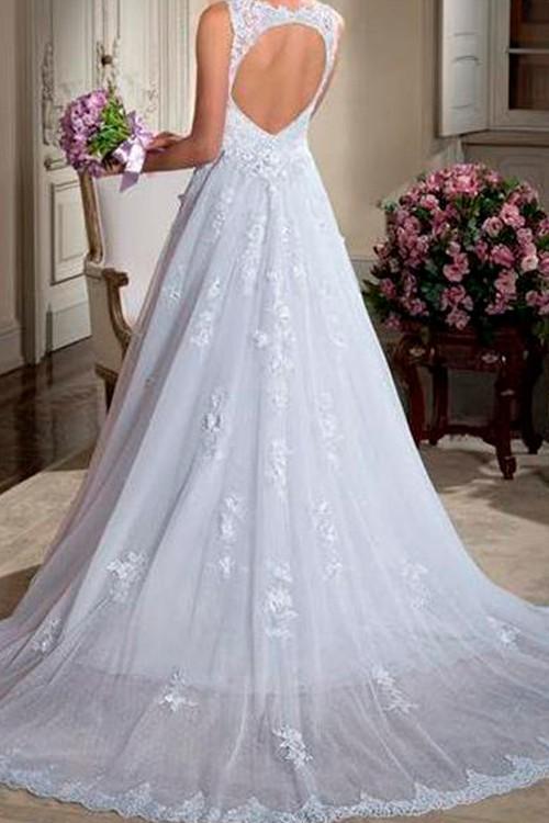 df36f24b5c Vestido de noiva frente- decote aberto cauda longa - Bella Angela