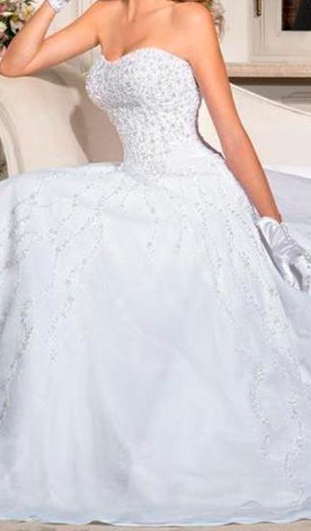 Vestido de noiva tomara que caia decote redondo