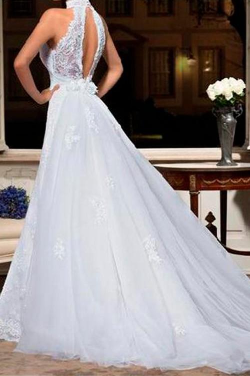 3c75f0cb43 Vestido de noiva classico gola alta decote aberto nas costas - Bella ...