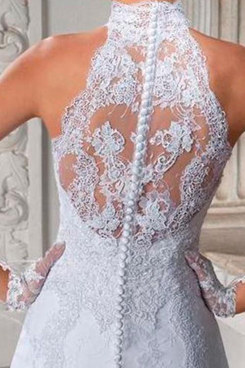 7a8bc79a0d Vestido de noiva frente única gola alta com decote nas costas rendado