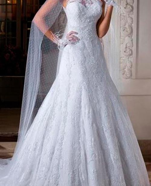 Vestido de noiva semi sereia frente única rendado