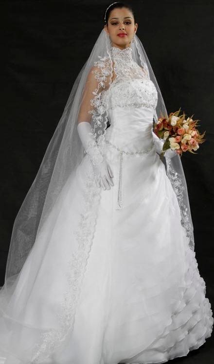 Vestido de noiva princesa frente única gola alta tecido organza