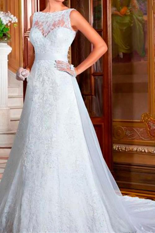 b1e0e72dd0 vestido de noiva frente única gola alta com renda - Bella Angela