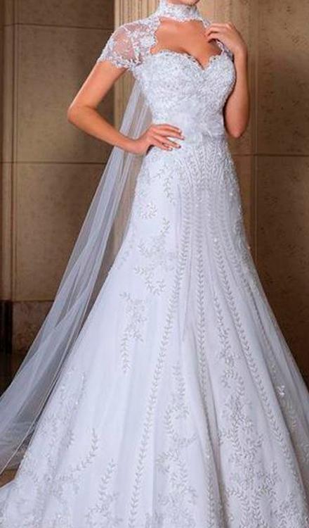 vestido de noiva semi sereia frente única aberto com gola