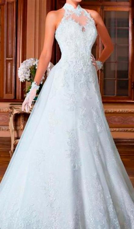 7baf36928 vestido de noiva evase frente única gola alta rendado - Bella Angela