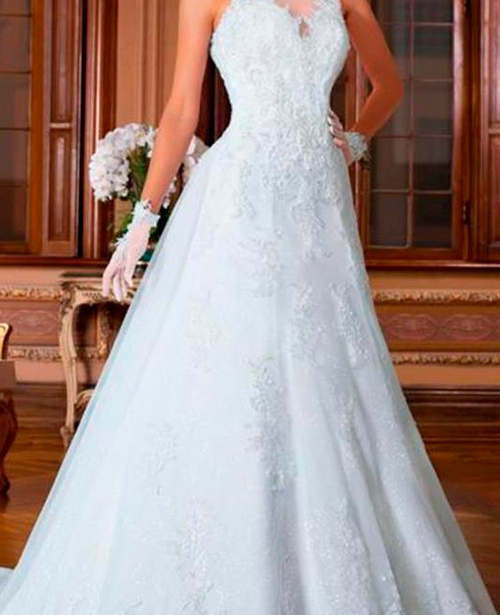 vestido de noiva evase frente única gola alta rendado