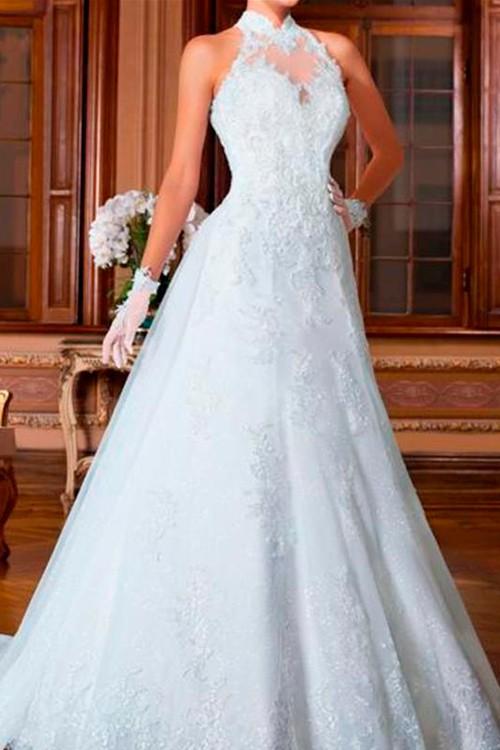d65886f2ad vestido de noiva evase frente única gola alta rendado - Bella Angela