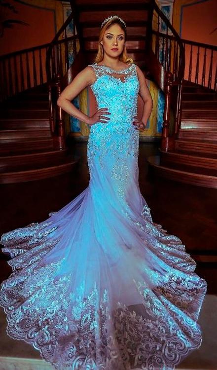 Vestido de noiva sereia frente única chiffon