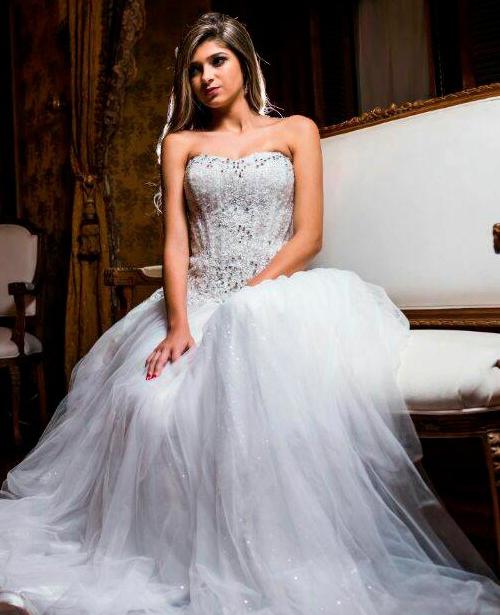 Vestido de noiva tomara que caia cetim