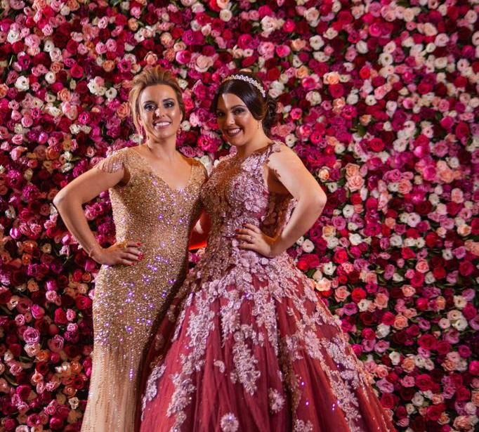 Vestido de Debutantes Rosa e Lilás Bordado
